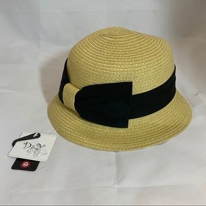 D&Y Tan Sun Hat with Black Bow UPF 50